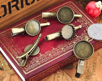 10 PCS 14-20mm Metal Hair pins, Blank Barrette, Alligator clip (1-105)