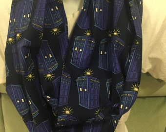Doctor Who Police Public Call Box Cotton Fabric Handmade Infinity Scarf