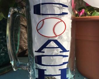 Baseball Coach Beer Mug-24 oz Beer Mug-Fun Gift for your favorite Baseball coach-Coaches gift-