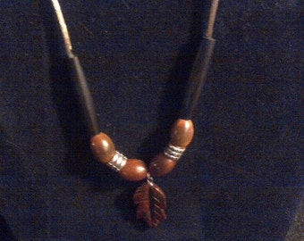 brown bead and leaf necklace