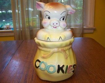 vintage American Bisque Pottery Co. cookie jar Pig in a Poke mid century Beauty! No Chips