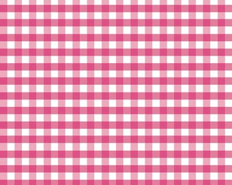 Riley Blake, Medium Gingham, Hot Pink and White, fabric by the yard