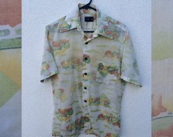 JC Penney Scenic Print Button up