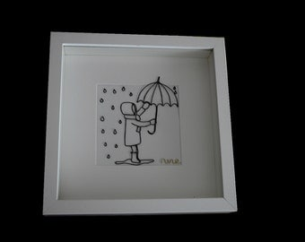 """""""The child and his umbrella"""" framework in wire"""