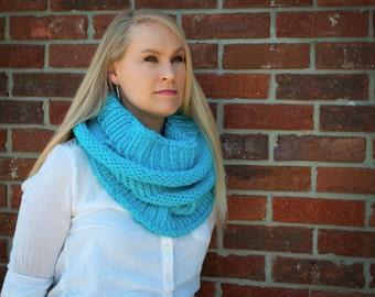 Ice blue Knitted Hoodie Cowl