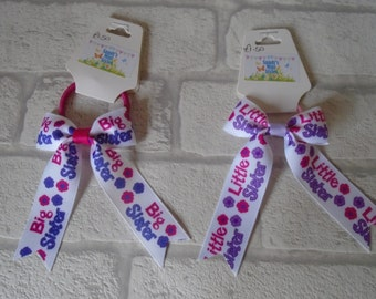 Big sister, little sister ribbons, tails down bows, bow, hair tie, elastic, bobbles, sisters