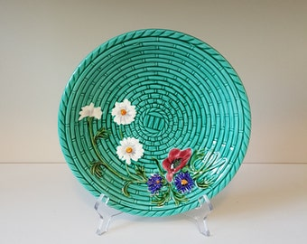 Vintage Majolica Bowl, Basket Weave with Wild Flowers, Zell Baden, made in Germany