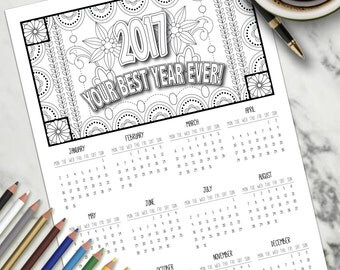 Adult Colouring Page Colouring Calendar Large A3