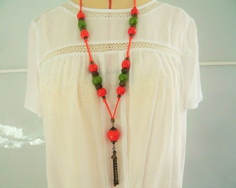 "Handmade orange and green ceramic Sautoiren ""Mahe"" with pearls"