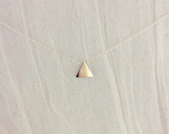 Tiny Triangle Necklace-Delicate Necklace-Dainty Necklace-Layering Necklace-Tiny Silver Necklace-Triangle Bead Necklace-Small Triangle