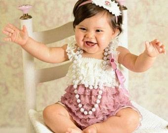 Newborn Infant Baby Girl Lace Posh Petti Ruffle Romper.