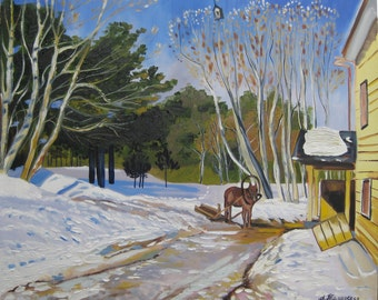 """March inspired by Isaac Levitan-Original Oil Painting on Canvas-Landscape Painting-Perfect Gift for Her-Wall Art-Home Decor 2016. 20"""" x 24""""."""