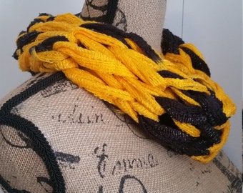 Black & Gold Knit Infinity Cowl Scarf