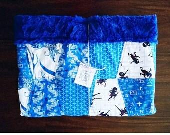 ninja quilt, crib size bedding, dragon quilt, blue ninjas
