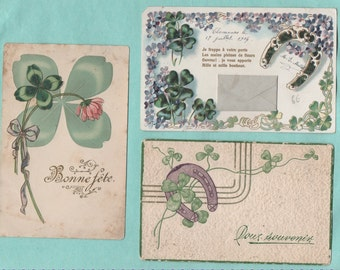 7 cards postcards old clover and forget-me-not/old postcard