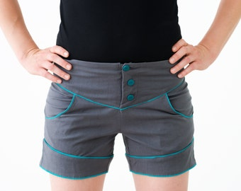 Sculpted Shorts : Grey & Teal Stretch Cotton  Shorts
