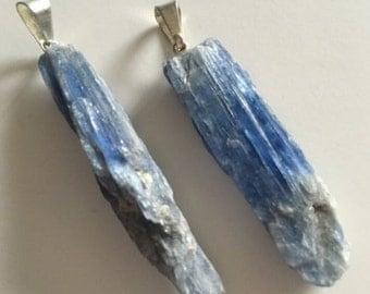 Beautiful Raw Blue Kyanite Blade Pendant, Reiki Healing Crystal Stone unpolished