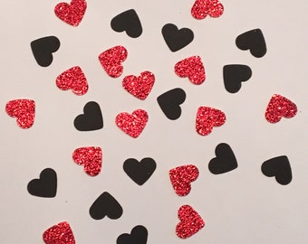 200 Red and Black Confetti Heart Confetti Glitter Confetti Shower Confetti Baby Confetti Wedding Confetti Birthday Confetti