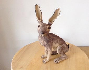 Harper hare sculpture. Stoneware/ceramic/pottery  hand made original.