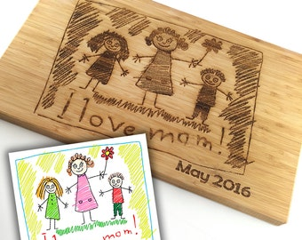 Mothers Day Gift Custom Cutting Board Childs Art Work Scribble Drawing Custom Wood Gifts for Mom Personalized Cutting Board Laser Engraved