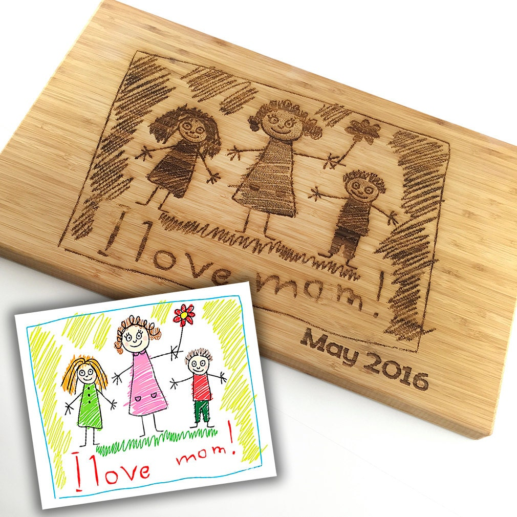 Mothers Day Gift Custom Cutting Board Childs Art Work Scribble