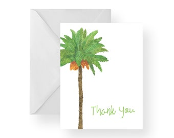 Thank You Cards Palm Tree (Set), palm tree note cards, palm tree stationary, palm tree cards, tropical thank you cards, tropical note cards