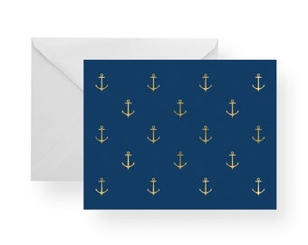 Note Cards Anchor (Set), note cards nautical, navy note cards, gold note cards, nautical stationery, anchor stationery