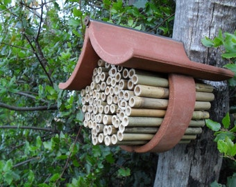 Mason Bee House Fired Clay Tile and Bamboo