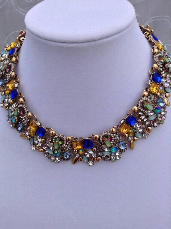 multi colored bib necklaceblue and yellow statement