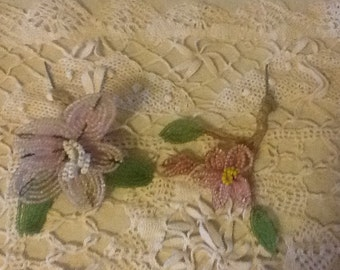 Antique French glass beaded flowers with silk wrapped stems