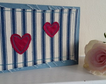 heart stitched fabric greeting card