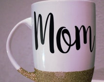 Some Bunny Loves You Mom Cup, Bunny Gold Glitter Mug, Mom Glitter Mug, 16oz Latte Mug