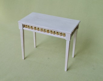 Miniature Modern Console Table - Black with silver accent / White with Gold accent