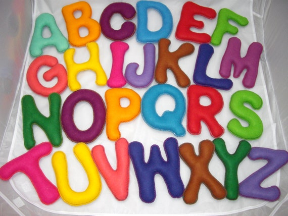 Stuffed felt alphabet letters fabric educational children toy for Wool felt letters