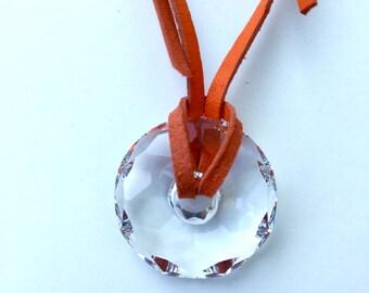 Leather Swarovski (R) necklace