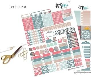 Serenity Weekly Happy Planner Kit// Printable Planner Stickers