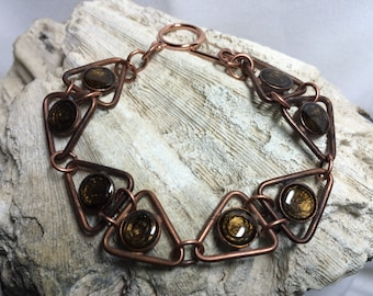 Brown Triangle Copper Bracelet