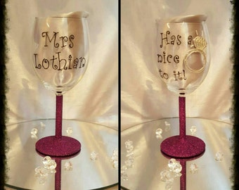 Engagement/wedding wine glass hand written