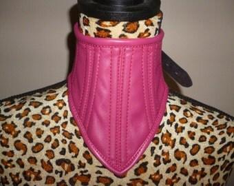 Pink Neck Corset. Boned faux leather. BDSM Gothic fashion