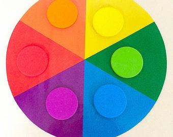 Colour Matching Wheel & Wooden Rainbow Discs, Teaching Aid, Montessori Classroom Resource, Educational Activity