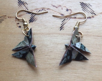 Upcycled Origami Butterfly Earrings