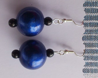 Blue Wooden Earrings