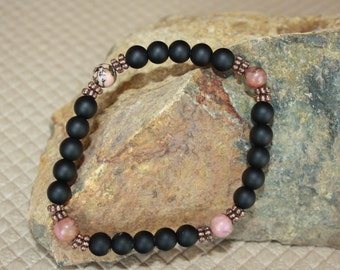 Rhodonite and Matte Onyx Stretch Bracelet