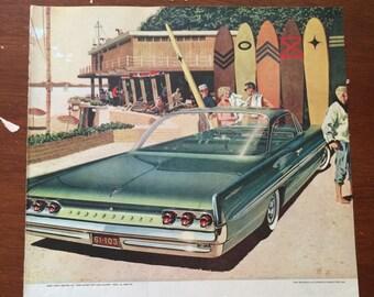 """11""""x14"""" 1961 Pontiac Ad, 1961 Pontiac Bonneville Sports Coupe ad, vintage car ad, surfer car ad."""