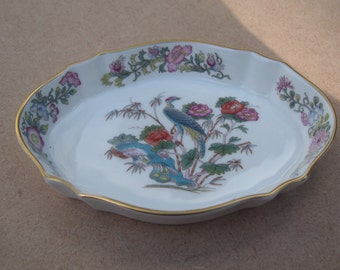 Wedgwood Bone China Trinket/Pin Dish - Kutani Crane Design - Vintage Bone China