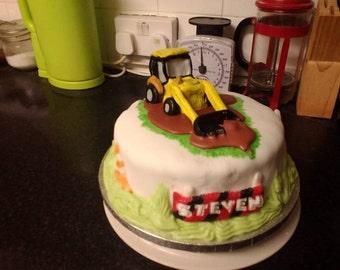 Digger cake topper