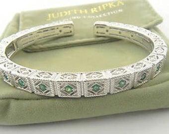 Judith Ripka Sterling Emerald Cuff Bangle Bracelet