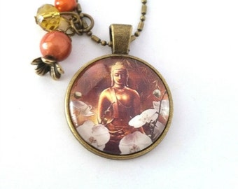Long necklace - retro - Buddha