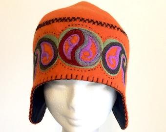 Hand made felted hat, unique design, orange, embroidered.
