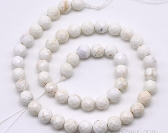 Howlite beads, 8mm round faceted, howlite faceted stone beads, white A grade gemstone strand, loose gem stone beads jewelry making, HWL1040